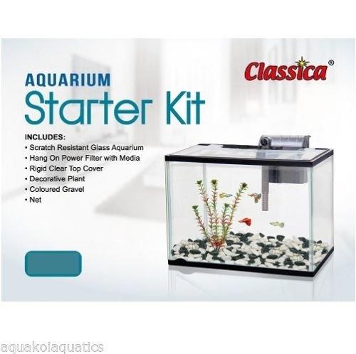 Classica complete aquarium glass fish tank starter kit for Fish tank starter kit