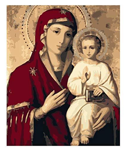 María la Virgen María figura DIY Pintura digital por número Arte moderno de la pared Pintura de la lona Decoración única de la habitación 40x50cm sin marco