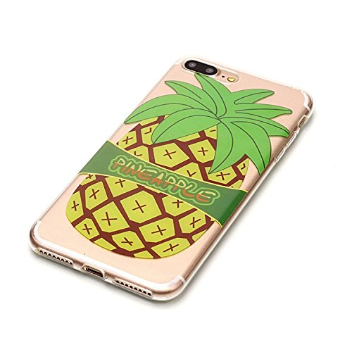 Vandot 1X 0.5MM 3D HD Exklusive Ultra Thin Leicht TPU Silikon Hülle Matt Für iPhone 7 Plus Muster Pattern Protektiv Case Skin Transparent Klar Back Cover Tasche Anti Finger Kratzer Premium Shell Slim  C-Big Ananas
