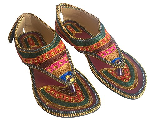 New Fashion da donna con strass, tacco T-Strap Sandali Jutti Multicolore (Multicolore)