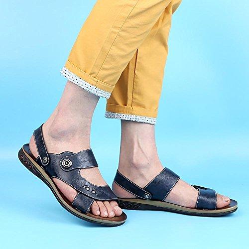 SYYAN Herren Strand Atmungsaktiv Rutschfest Offener Zeh Handgemacht Sandalen Blue