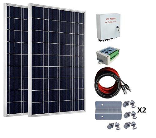 ECO-WORTHY 200W Solar Panel aus Grid-System: 2Pcs 100W Solar Panel + 15A Laderegler + PV Combiner Box -