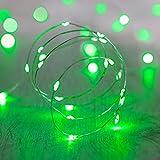 20 MicroLED verdi a pile su cavo argento di Lights4fun