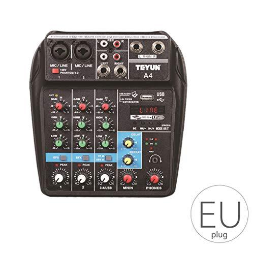 Cdrox Beruf Mischpult USB-Anschluss Mini Powered Bluetooth 4-Kanal-Stage Performance Live-Handlungs-Audio-Mixer