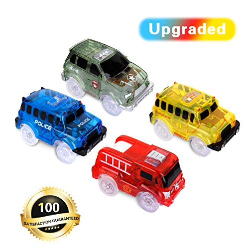 Track Cars, 4 Stück Rennauto Rennwagen mit LED Licht, Race Cars Autorennbahn Spielzeug Auto, 5 LED Blinklichtern Magic Toys, Childs Geschenke für Alter Kinder, Kompatibel mit den meisten Tracks - 4-track-lichter