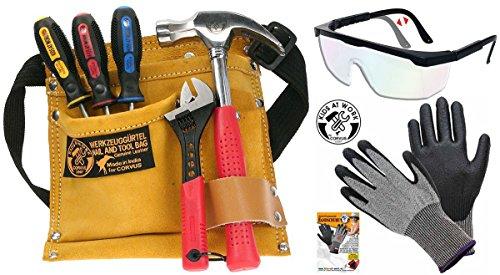 Corvus Kids At Work Kinder-Werkzeug-Set mit Schutzbrille, Handschuh Schnitthemmend GR. 6-S und...