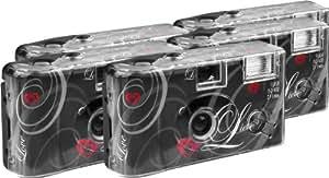 TopShot Lot de 5 appareils photo jetables Love pour 27 photos avec flash (Noir)