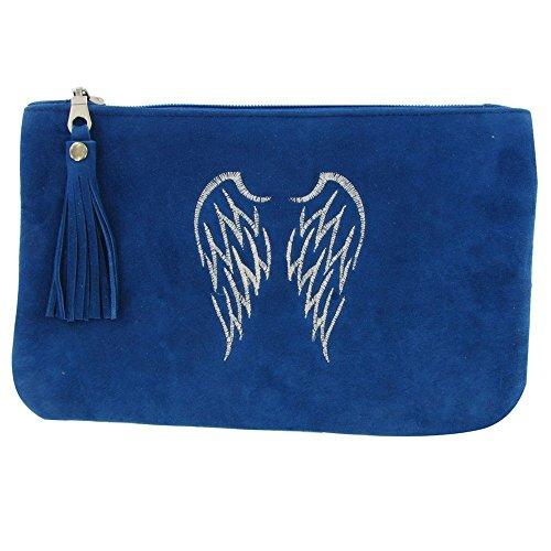 AN Borsa in Camoscio ricamato Due Angel Wings Colore Blu Blue
