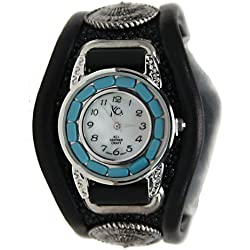 Kc,s Leather Craft Watch Bracelet Turquoise Movemnet 3 Concho Inlay Stingray Color Black