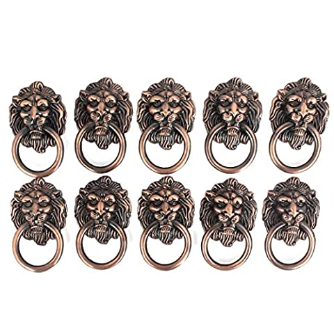 sourcingmap® Dresser Drawer Cabinet Door Ring Lion Head Pull Handle Knob 10pcs