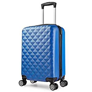 valise cabine 55 cm abs bagage cabine rigide 4 roues avion ryanair 4 couleurs 40l blue amazon. Black Bedroom Furniture Sets. Home Design Ideas