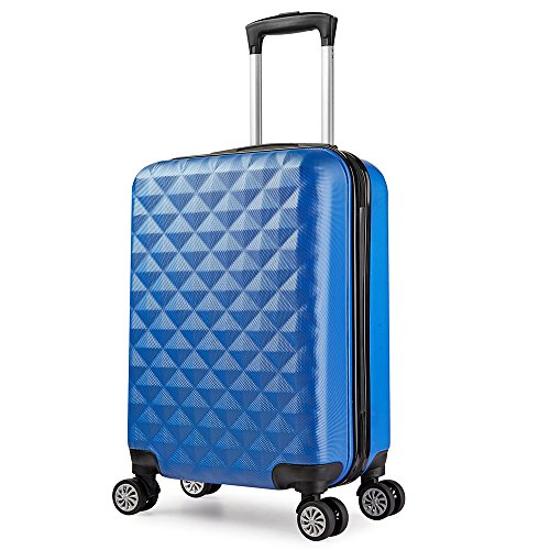 Valise cabine 55 cm ABS bagage cabine rigide 4 roues avion ryanair 4 couleurs 40L(Blue)