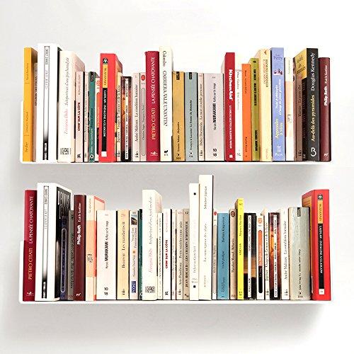 TEEbooks - Étagère pour livre - Lot de 2 - BLANC - ACIER - L 60 cm P 15 cm H 15 cm