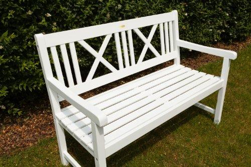 Landhausbank LÜBECK weiß lackiert, 2-Sitzer aus Eukalyptus FSC, B 120 x H 89 x T 59 cm - 3