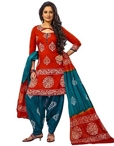 Jevi Prints Red & Green Unstitched Cotton Battik Printed Salwar Kameez With...