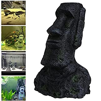 Dairyshop Easter Island Big Statue Aquarium Ornament Fish Tank Rock With Face Heads Decor 2017 22