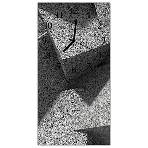DekoGlas Glasuhr \'Marmortisch Grau\' Uhr aus Acrylglas, eckig große Motiv Wanduhr 30x60 cm, lautlos für Wohnzimmer & Küche