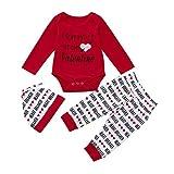 Sensail Tenue de jour de la Saint-Valentin, BéBé Garçon Filles Lettre Imprimé à Manches Longues O Cou Jumpsuit + Pantalon + Chapeau Mignon Vêtements (Rouge, 80/6mois)