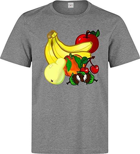 Vegan vegetarian tasty fruits logo Herren baumwolle t-shirt Grau