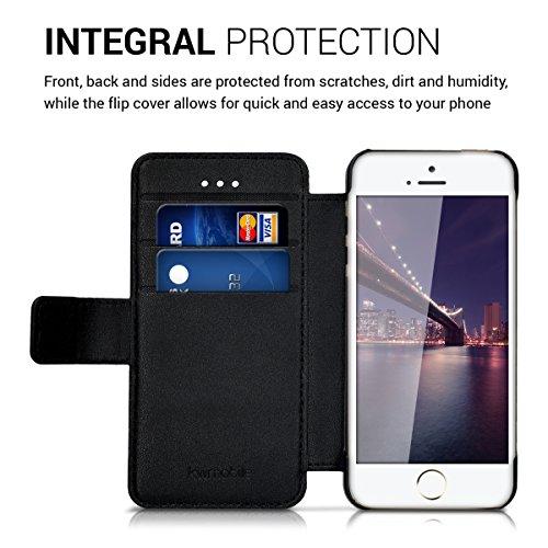 kwmobile Slim Wallet Case für Apple iPhone SE / 5 / 5S - Kunstleder Tasche Flip Hülle Kartenfach Magnet Cover in Schwarz .Schwarz