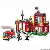 Démarreur Caserne De Pompiers Fourgon D'incendie & 5 pompiers / 466pcs compatible bloques de construction set de construction (910)