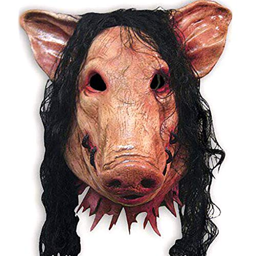 Kostüm Schweinekopf - JIBO Schweinekopf Scary Masken Caveira Cosplay Neuheit Halloween Maske Mit Haar Halloween Maske Kostüm Latex Festival Supplies