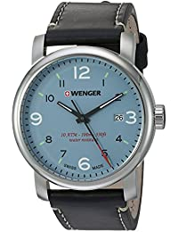 Wenger Men's 'Urban Metropolitan' Swiss Quartz Stainless Steel And Leather Casual Watch, Color:Black (Model: 01.1041.137)