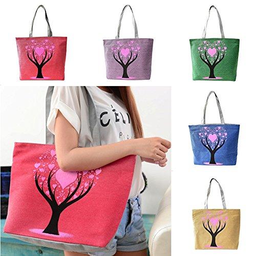 Hrph Love Tree Canvas Handtasche Preppy Schultasche für Mädchen-Frauen-Handtaschen , nette Taschen Green