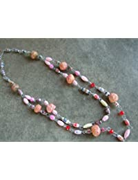 Handmade by Mimi Pinto Chunky Paper Bead Necklace with S Clasp/Easy hook Clasp