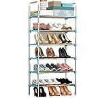 FKUO Schuhregal einfach zusammengebauten Kunststoff mehrere Schichten Schuhe Regal Storage Organizer Stand Halter halten Raum ordentlich Tür Platz sparen (Sechs blaue Schichten, 57*29*115CM)