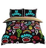 NEON Effekt Schilder Flamingos Sterne Herzen schwarz Baumwolle-Mischgewebe Single Bettbezug