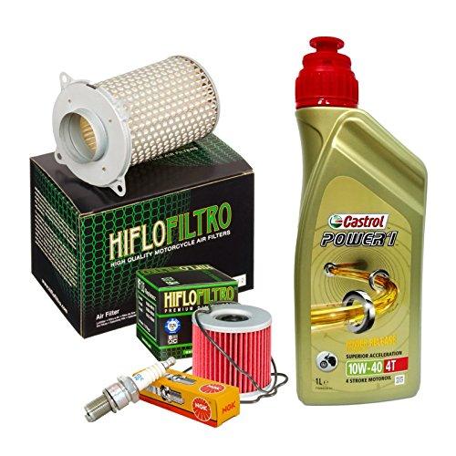 Kit tagliando Castrol Power 1 10W40 filtro olio aria candele Suzuki GS 500 E/F/H