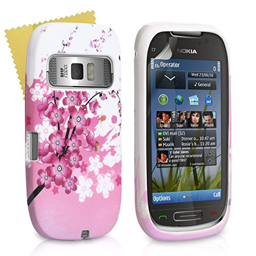 Yousave Floral Bee Gel Cover for Nokia C7 Pink/White [NO-KA01-Z324] - Bee Floral