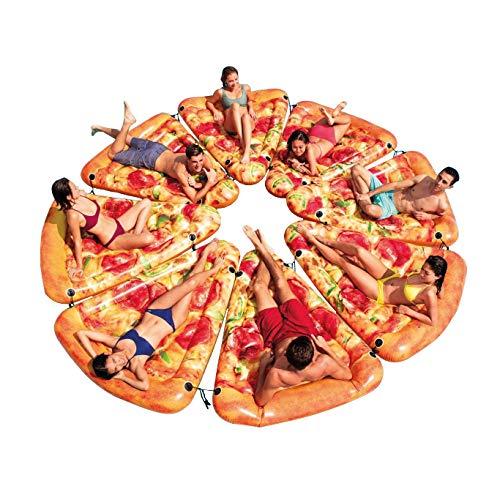 Essen Pizza Slice Pool Float aufblasbare Schwimmparty Spielzeug Spaß Floaties Mat, Riesen Sommer Pool Lounge Floß mit Kissen Schnalle Schnur Design für Erwachsene Kinder von WYHDX,8PC