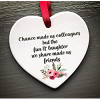 Chance made us Colleagues Fun and Laughter Mini Novelty Ceramic Hanging Heart Leaving Gift Plaque Work Friendship Sign