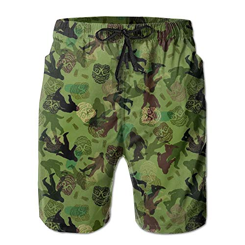 Paint0 Bigfoot Camo Men's Quick Dry Beach Board Shorts Summer Swim Trunks XL -