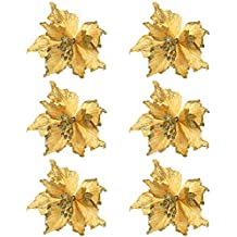 JYCRA Flor de Navidad con Purpurina, 6 Piezas con Purpurina para decoración de árbol de