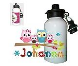 Kinder Trinkflasche Eule mit eigenen Namen Wunschname personalisiert viele Motive