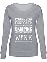 Green Turtle T-Shirts Sudadera Mujer - Weekend Forecast Camping with Wine - Regalo Divertido