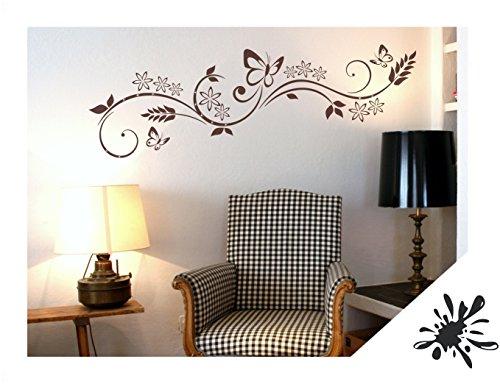 Exklusivpro Wandtattoo Blumen Ranke Miu mit Schmetterlinge inkl. SWAROVSKI für Wohnzimmer Schlafzimmer Flur oder Diele (jap29 schwarz) 90 x 24 cm mit Farb- u. Größenauswahl