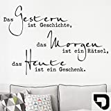 DESIGNSCAPE® Wandtattoo Das Gestern ist Geschichte... | Wandtattoo Lebensweisheit Spruch 90 x 60 cm (Breite x Höhe) schwarz DW801629-M-F4