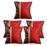 #10: meSleep Red Stripe Brocade Cushion Cover - Set of 5