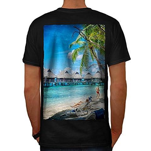 Eau Chalet cabane Mer Océan Le Homme NOUVEAU Noir M T-shirt Reverse | Wellcoda