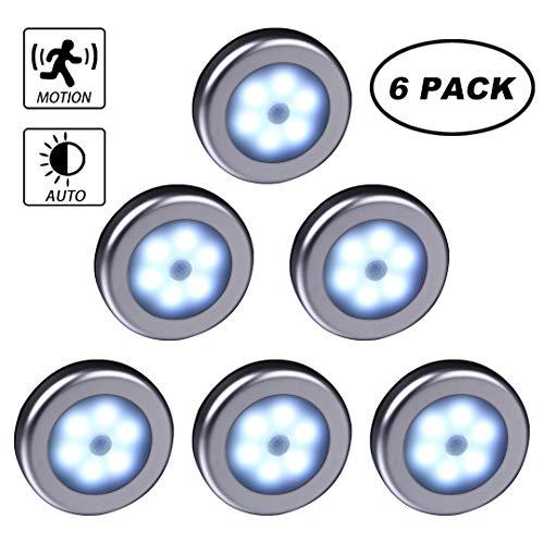 WRalwaysLX 2018 LED-Schrankleuchte mit Bewegungssensor, für Treppen, Flur, Schrank, Küche, Schlafzimmer (kühles Licht, silberfarbene Schale, 3er-Pack) 009 6pc White Light-Silver Shell