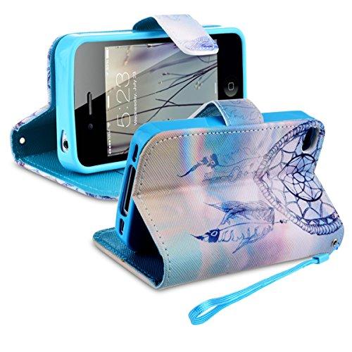SMARTLEGEND PU Leder Wallet Schale Etui für Apple iPhone 4 4S Hülle Flip Case Klapp Schutz Hülle Magnet Verschluss Handy Tasche Kredit Slot - Traumfänger Traumfänger