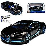 Maisto Bugatti Chiron: Originalgetreues Modellauto im Maßstab 1:24, bewegliche Türen, Koffer-/Motorraum zum Öffnen, 19 cm, grau (531514BK)