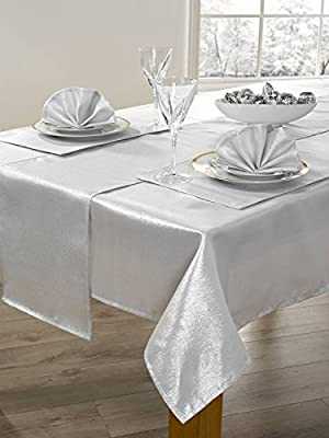 "14 Piece Metallic Sparkle Table Cloth Set 72"" 90"""
