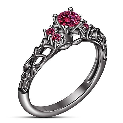 Vorra Fashion Damen-rund Cut Rosa Saphir Solitaire mit Akzenten Ring Schwarz rhodiniert (Schwarz Und Rosa Saphir-ring)