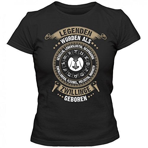Sternzeichen Zwillinge #2 T-Shirt | Astrologie | Horoskop | Legenden | Frauen | Shirt Schwarz (Deep Black L191)