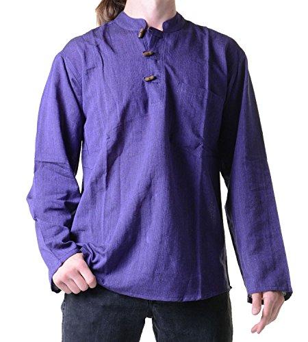 Fischerhemd Kurtha Uni Überzieher Hemd Poncho Mittelalter Nepal Lila